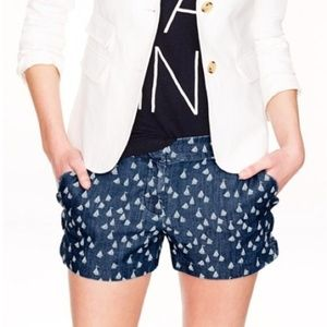 J. Crew Blue Scalloped Chambray Sailboat Shorts 2